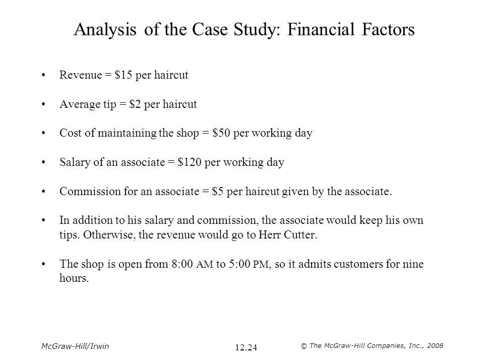Analysis of the Case Study: Financial Factors