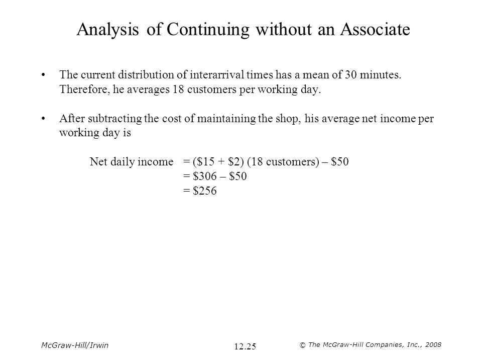 Analysis of Continuing without an Associate