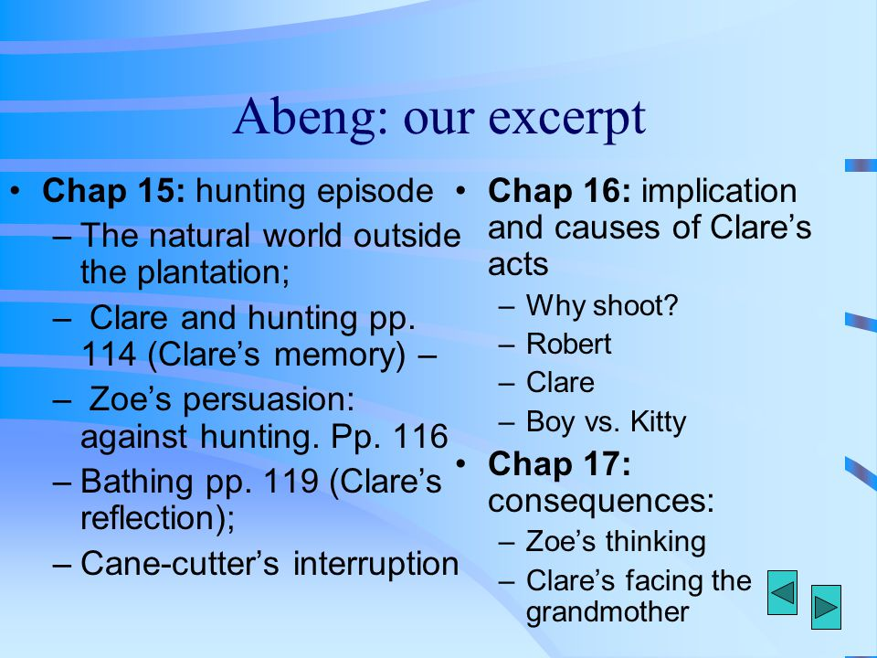 Abeng: our excerpt Chap 15: hunting episode