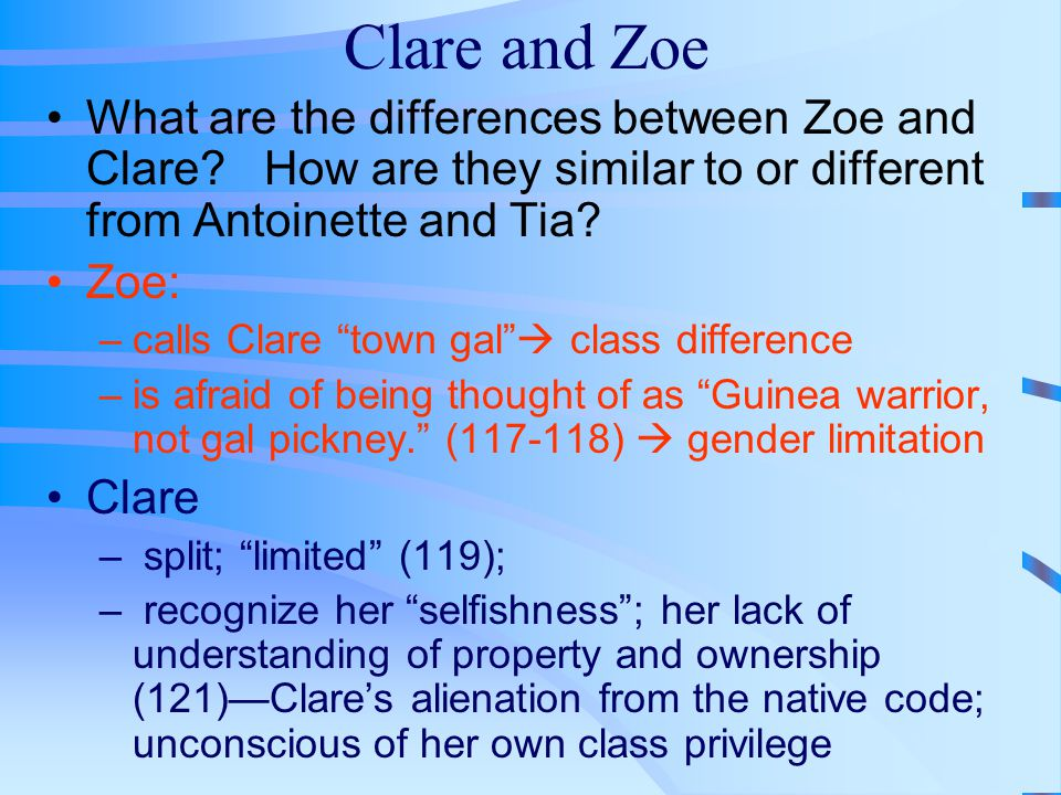 Clare and Zoe What are the differences between Zoe and Clare How are they similar to or different from Antoinette and Tia