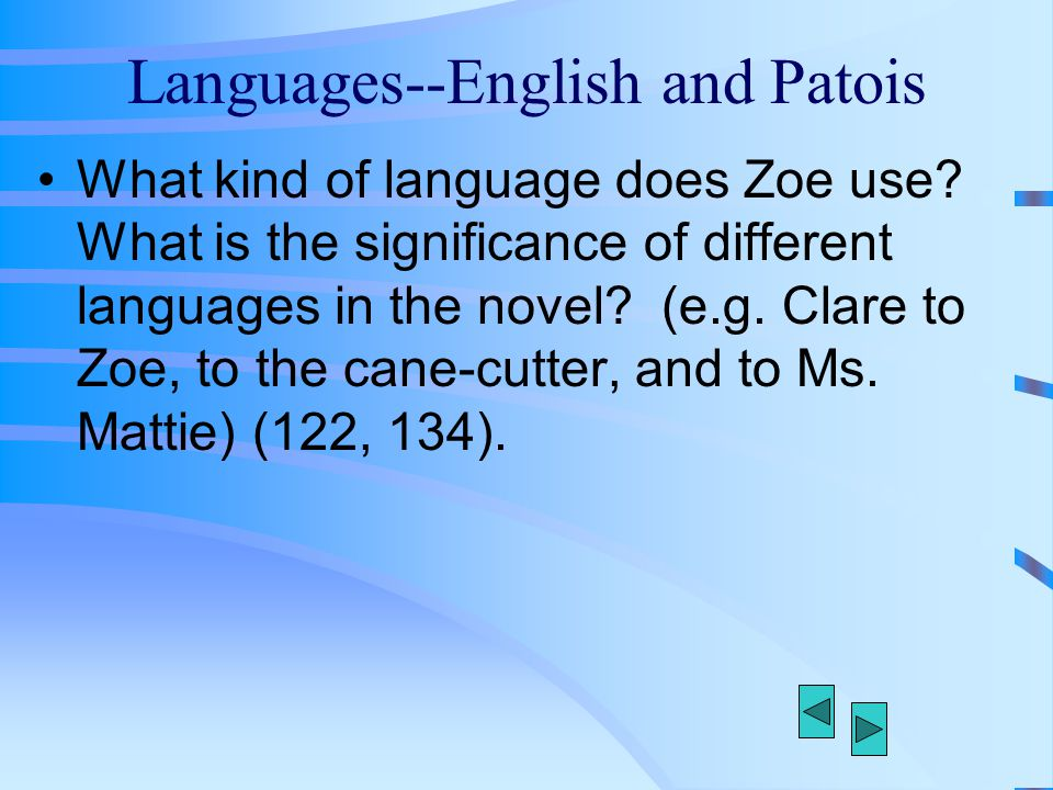 Languages--English and Patois