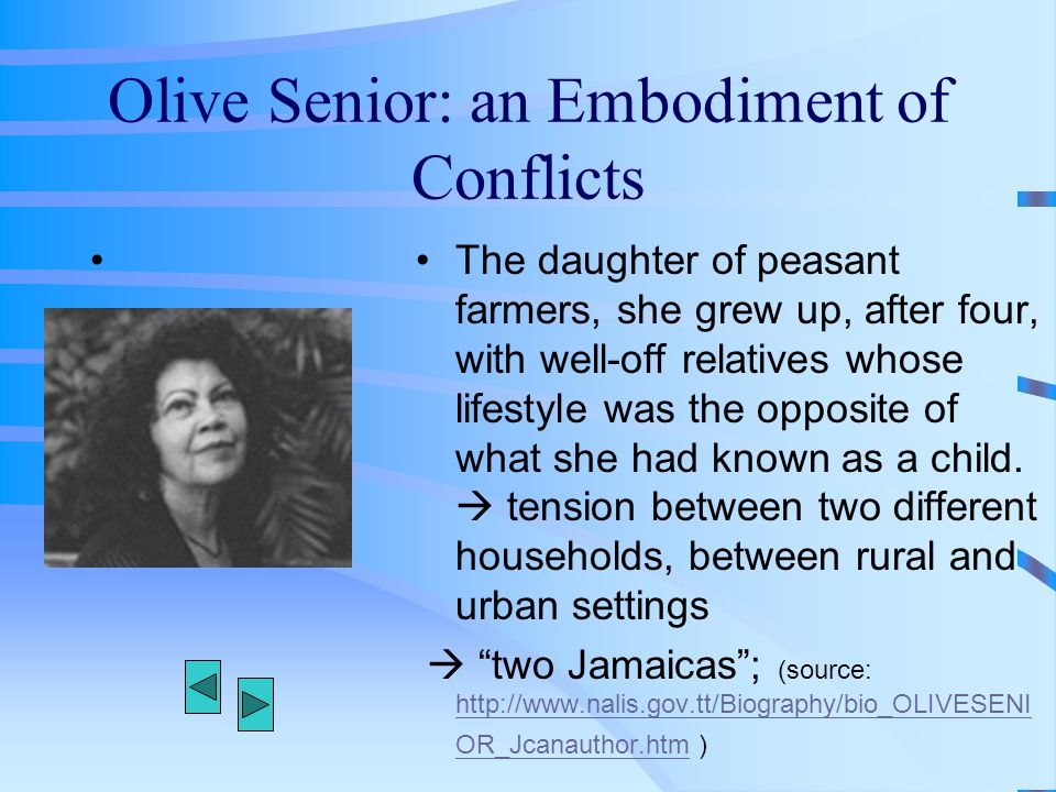Olive Senior: an Embodiment of Conflicts