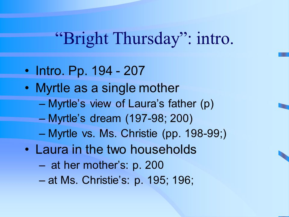 Bright Thursday : intro.