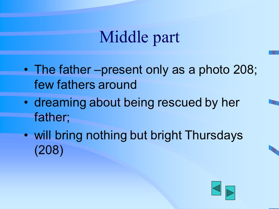 Middle part The father –present only as a photo 208; few fathers around. dreaming about being rescued by her father;
