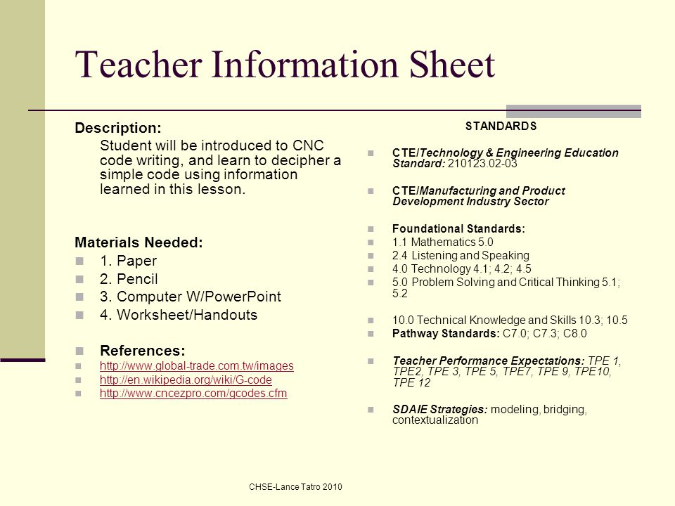 Teacher Information Sheet