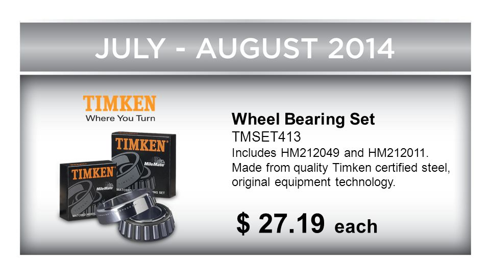 $ 27.19 each Wheel Bearing Set TMSET413