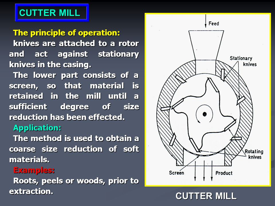 CUTTER MILL CUTTER MILL The principle of operation: