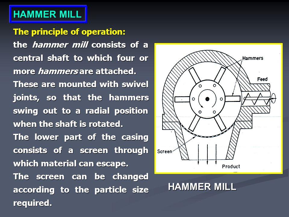 HAMMER MILL HAMMER MILL The principle of operation: