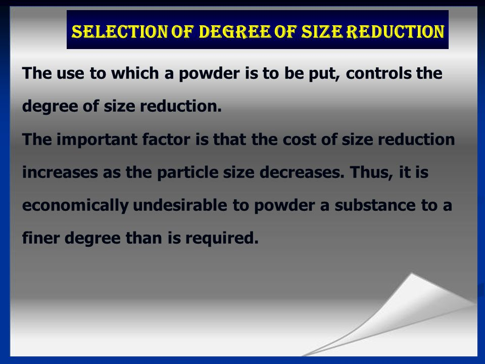 Selection of Degree of Size Reduction
