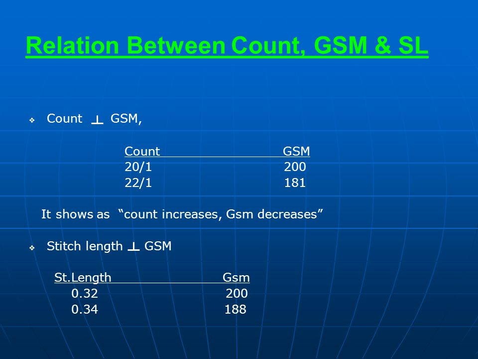 Relation Between Count, GSM & SL