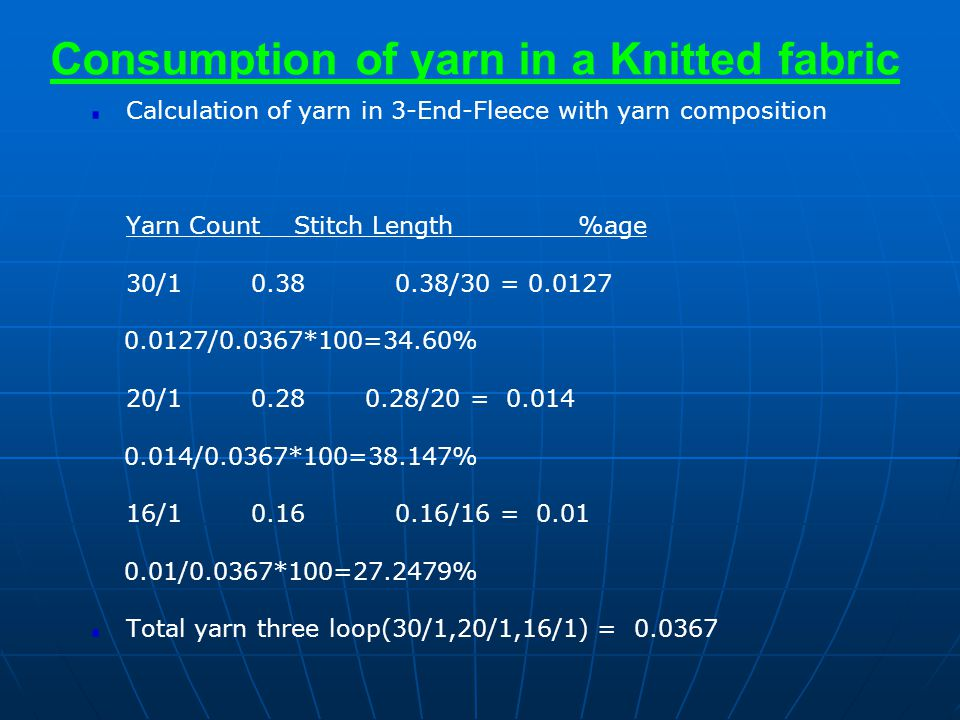 Consumption of yarn in a Knitted fabric