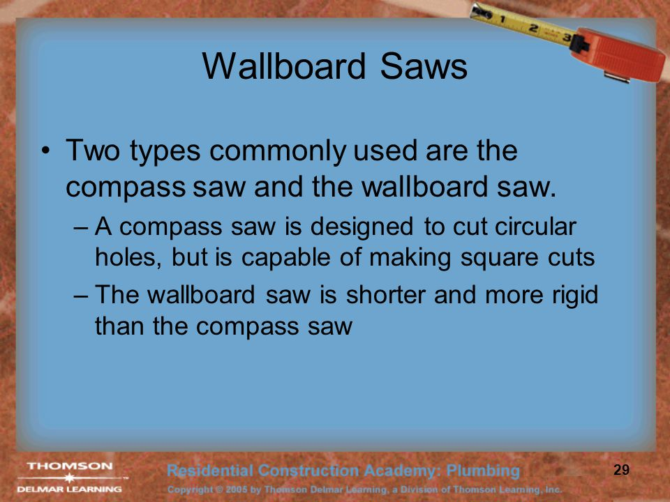 Wallboard Saws Two types commonly used are the compass saw and the wallboard saw.