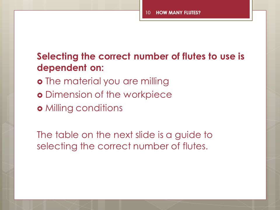 Selecting the correct number of flutes to use is dependent on: