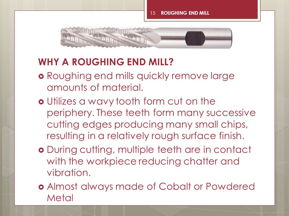 Roughing end mills quickly remove large amounts of material.