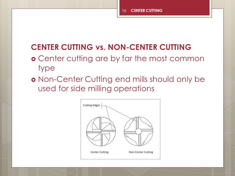 CENTER CUTTING vs. NON-CENTER CUTTING