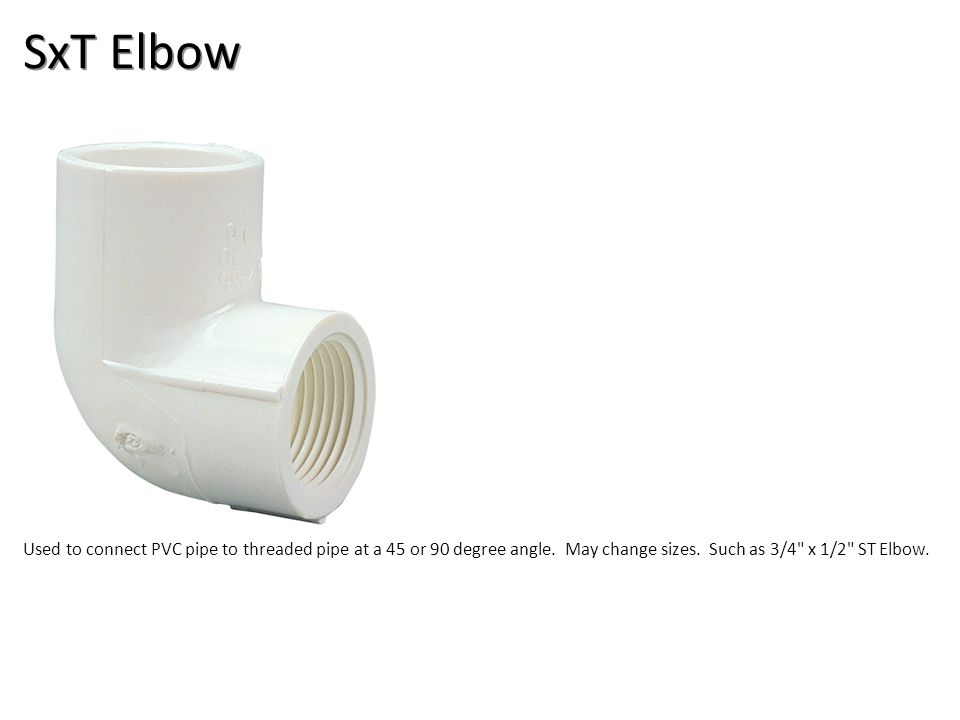 SxT Elbow Plumbing Tools And Supplies-PVC Pipe And Fittings Image: PVC_90ST_Ell.jpg Height: 360 Width: 360.