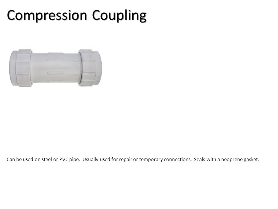 Compression Coupling Plumbing Tools And Supplies-PVC Pipe And Fittings Image: PVCCompCoupling.jpg Height: 100.2 Width: 181.2.