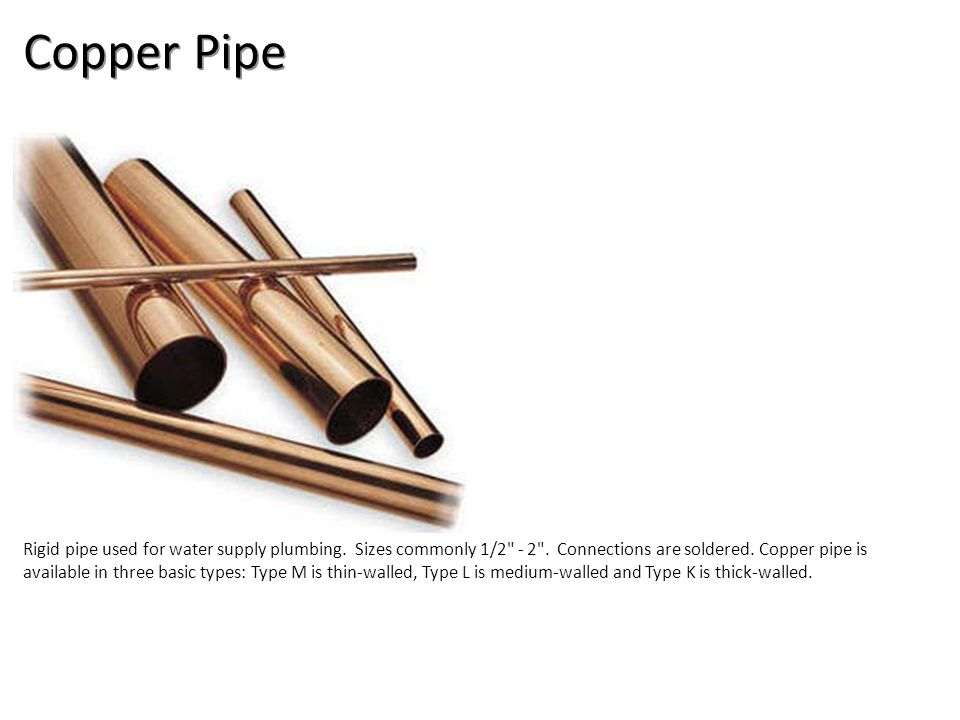 Copper Pipe Plumbing Tools And Supplies-Copper Pipe and Fittings Image: copperPipe.jpg Height: 255 Width: 289.