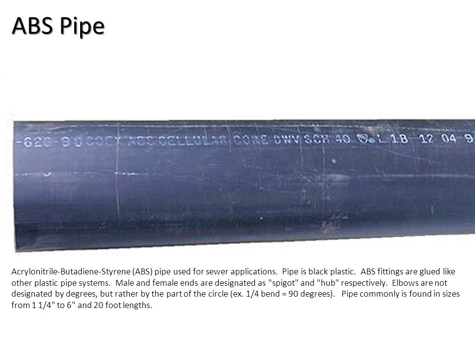 ABS Pipe Plumbing Tools And Supplies-ABS Pipe and Fittings Image: ABSpipe.jpg Height: 208 Width: 592.