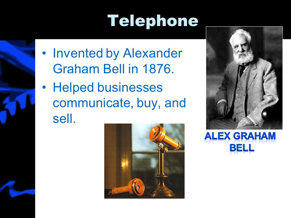 Telephone Invented by Alexander Graham Bell in 1876.