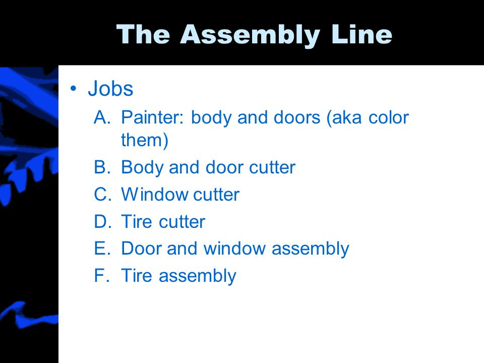 The Assembly Line Jobs Painter: body and doors (aka color them)