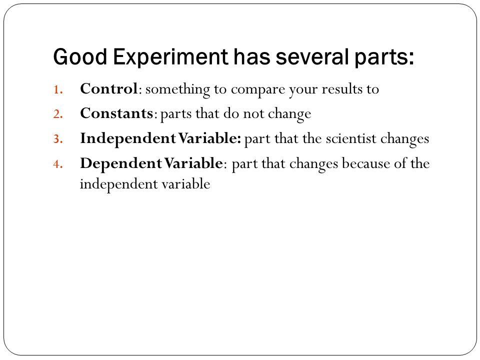 Good Experiment has several parts:
