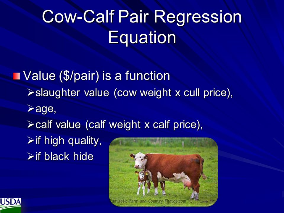 Cow-Calf Pair Regression Equation