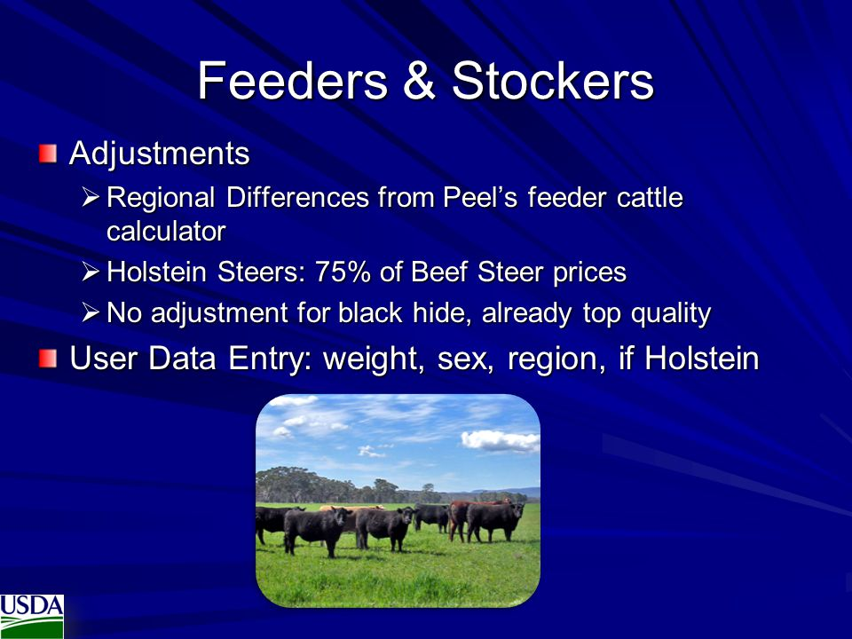 Feeders & Stockers Adjustments
