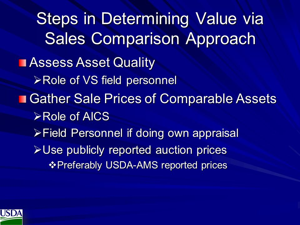 Steps in Determining Value via Sales Comparison Approach
