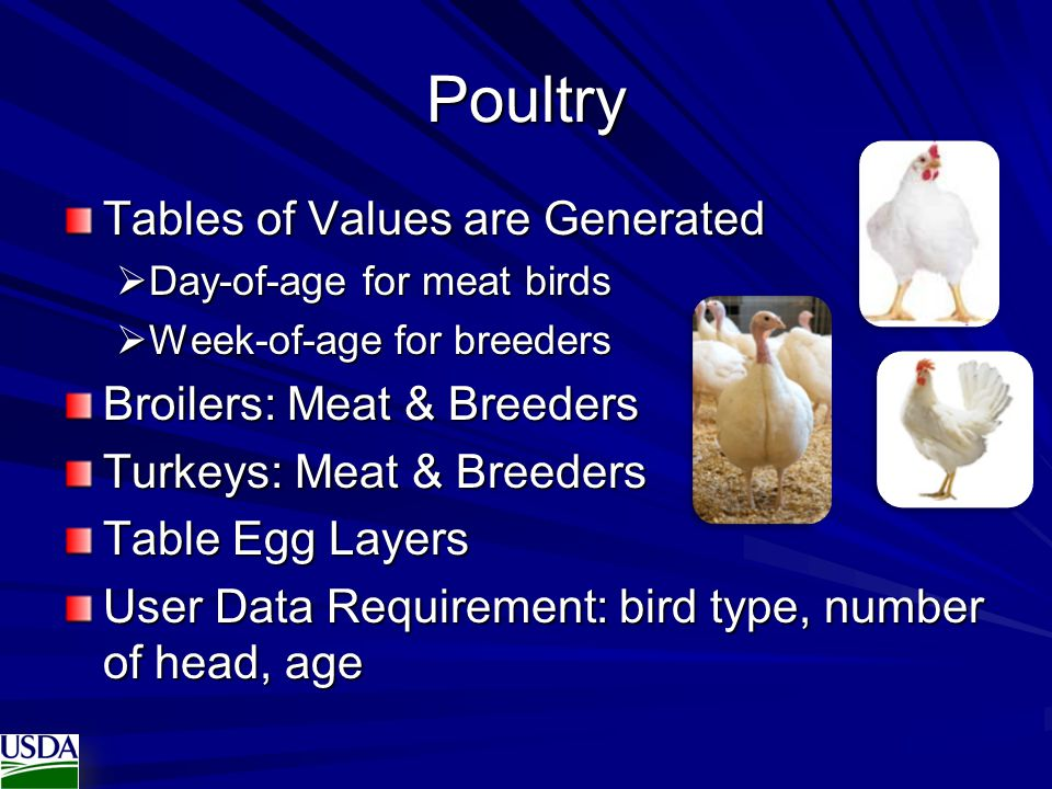 Poultry Tables of Values are Generated Broilers: Meat & Breeders
