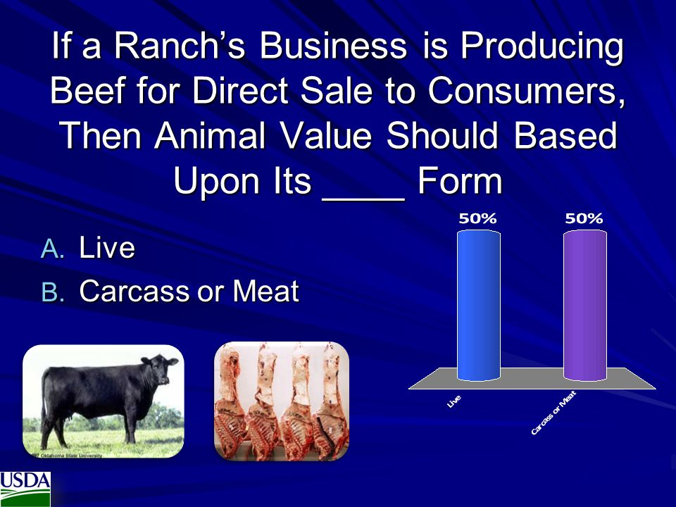 If a Ranch's Business is Producing Beef for Direct Sale to Consumers, Then Animal Value Should Based Upon Its ____ Form
