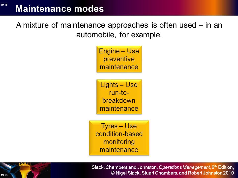 Maintenance modes A mixture of maintenance approaches is often used – in an automobile, for example.
