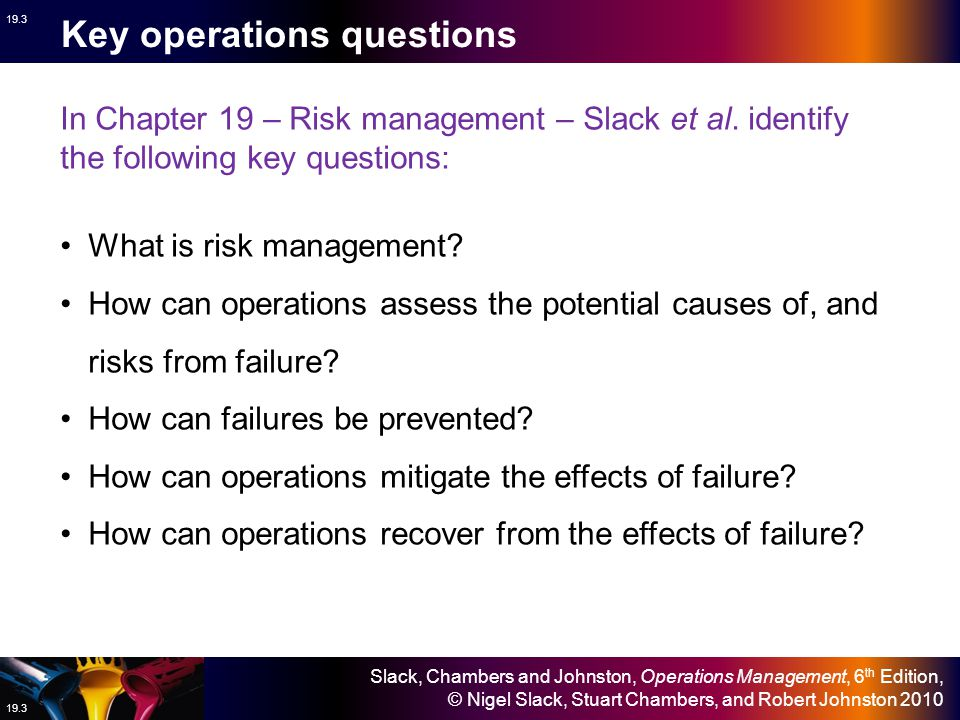 Key operations questions