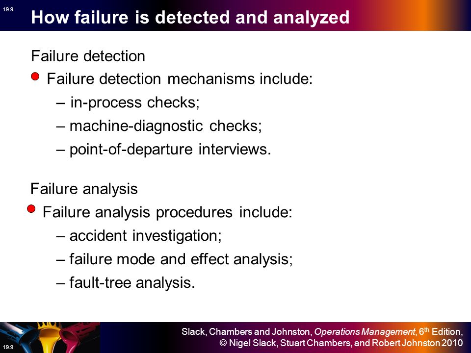 How failure is detected and analyzed