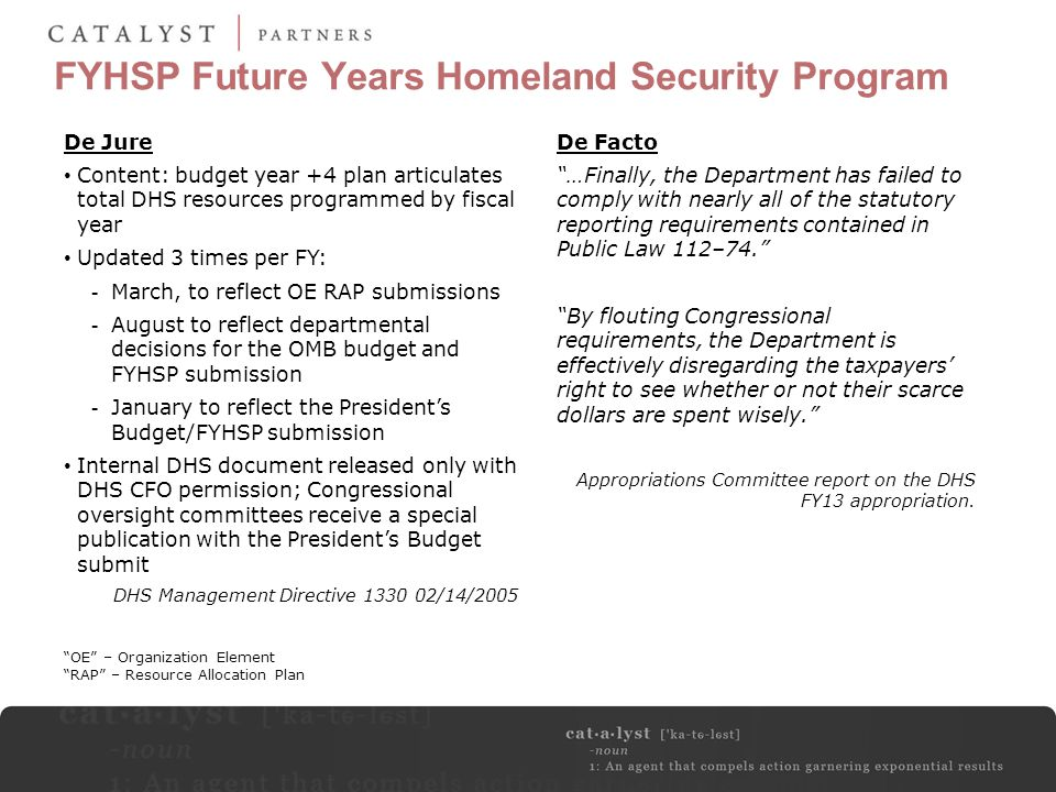 FYHSP Future Years Homeland Security Program