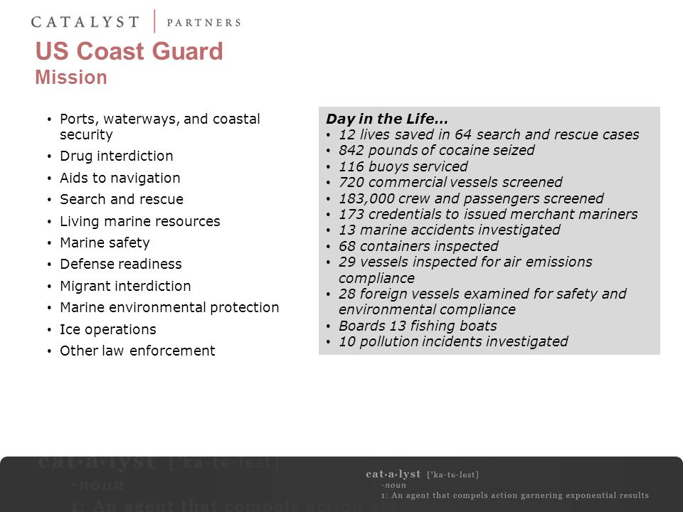 US Coast Guard Mission Ports, waterways, and coastal security