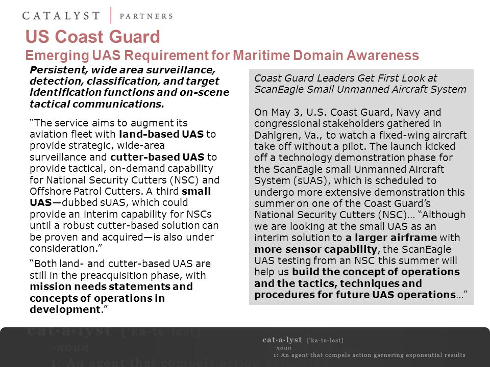 US Coast Guard Emerging UAS Requirement for Maritime Domain Awareness