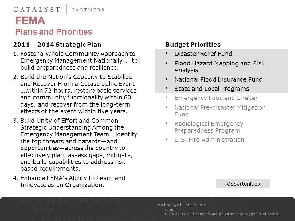 FEMA Plans and Priorities