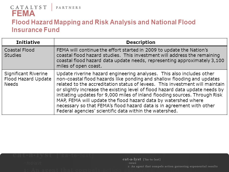 FEMA Flood Hazard Mapping and Risk Analysis and National Flood Insurance Fund