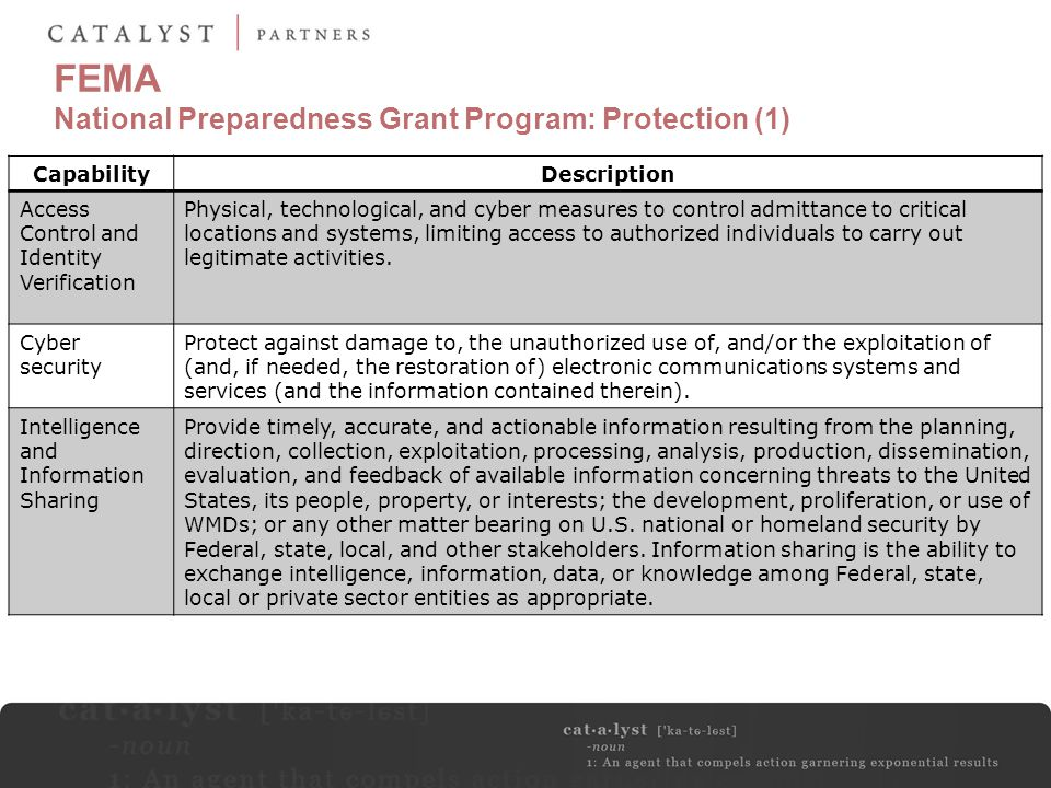 FEMA National Preparedness Grant Program: Protection (1)