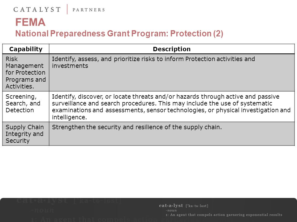 FEMA National Preparedness Grant Program: Protection (2)