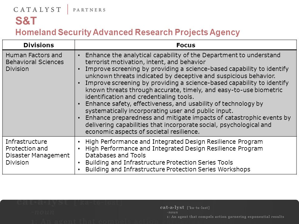 S&T Homeland Security Advanced Research Projects Agency