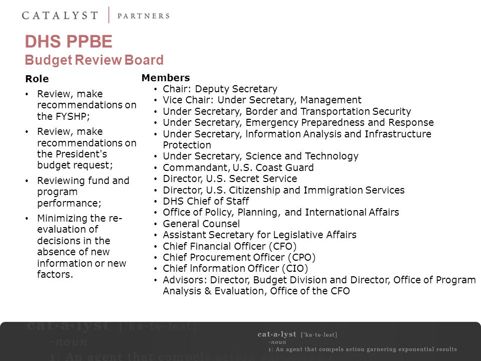 DHS PPBE Budget Review Board