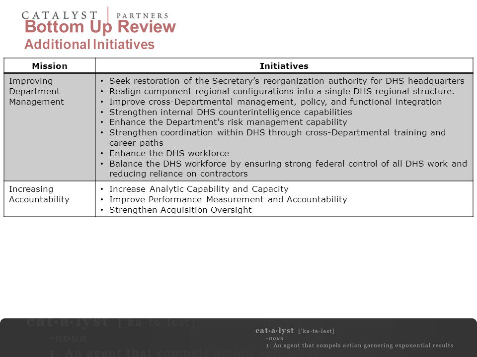 Bottom Up Review Additional Initiatives