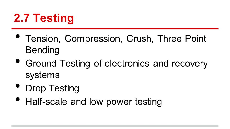 2.7 Testing Tension, Compression, Crush, Three Point Bending