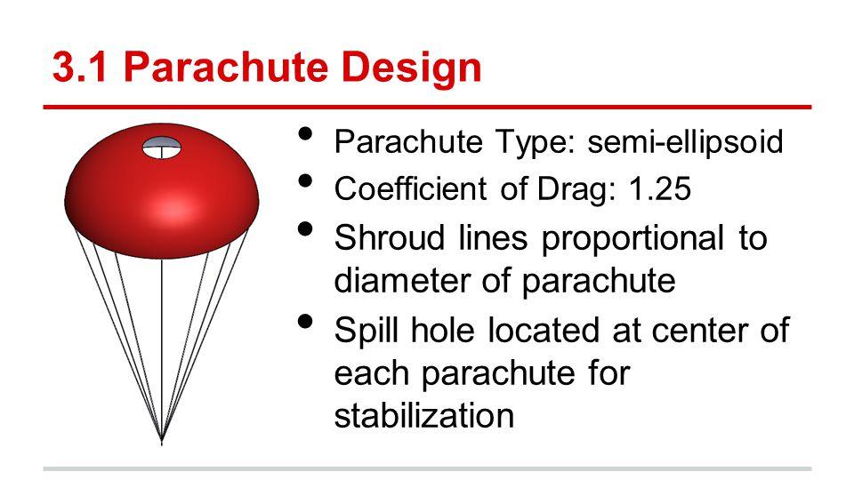 3.1 Parachute Design Parachute Type: semi-ellipsoid. Coefficient of Drag: 1.25. Shroud lines proportional to diameter of parachute.