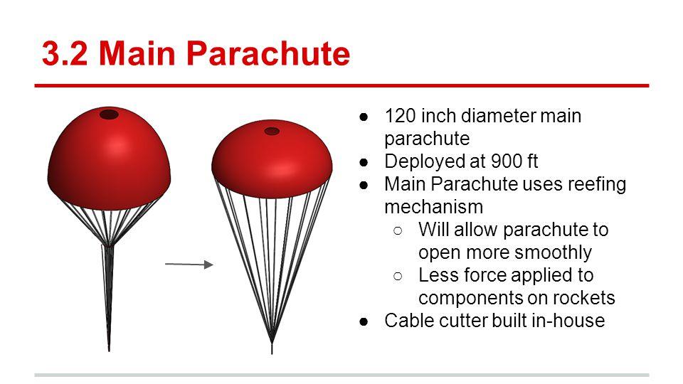 3.2 Main Parachute 120 inch diameter main parachute Deployed at 900 ft