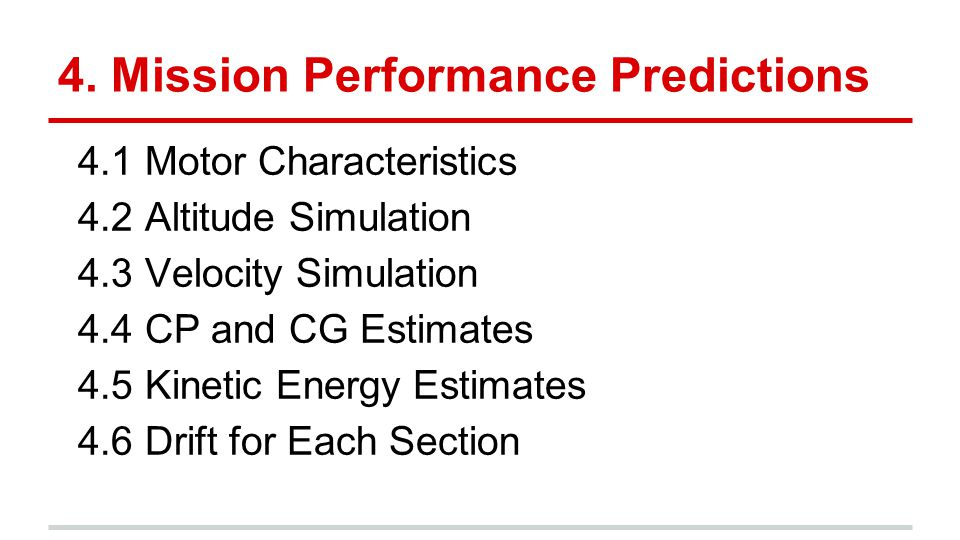 4. Mission Performance Predictions