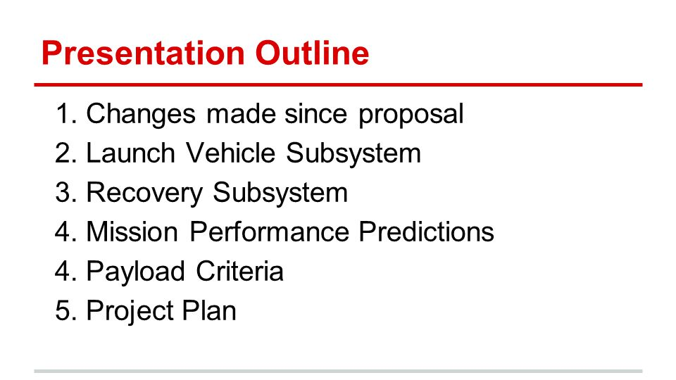 Presentation Outline 1. Changes made since proposal