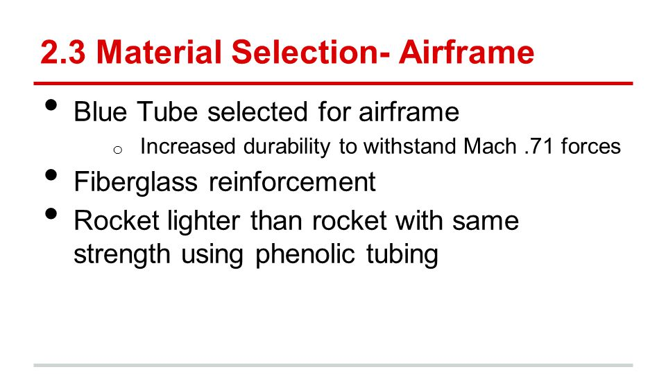 2.3 Material Selection- Airframe